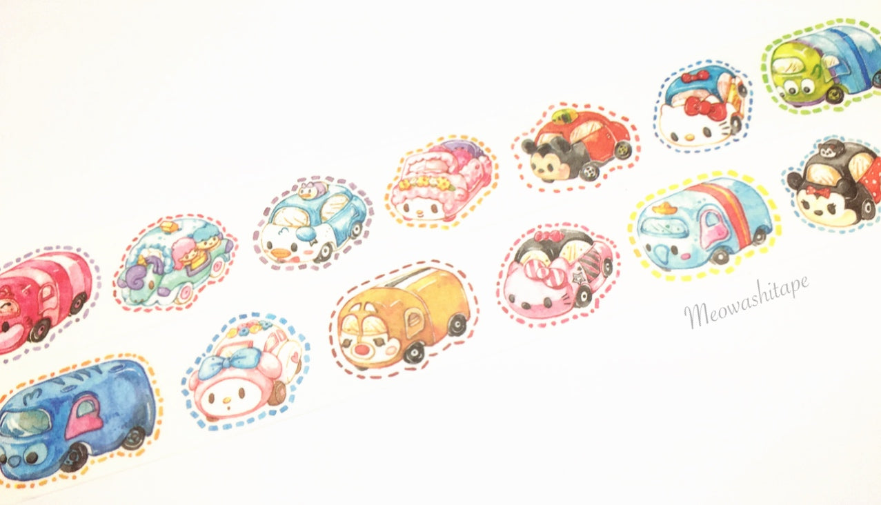 Disney Tsum Tsum and Sanrio character toy cars washi tape