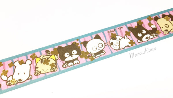 Round Top x Tama and friends - Flower gold foil washi tape