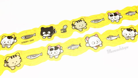 Round Top x Tama and friends - Jumping silver foil die cut washi tape
