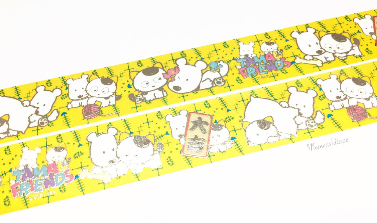 Round Top x Tama and friends - Family Silver foil washi tape
