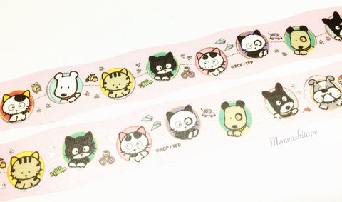 Round Top x Tama and friends - Travel Silver foil die cut washi tape