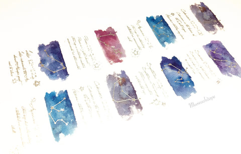 Constellations - Libra to Pisces silver foil washi tape