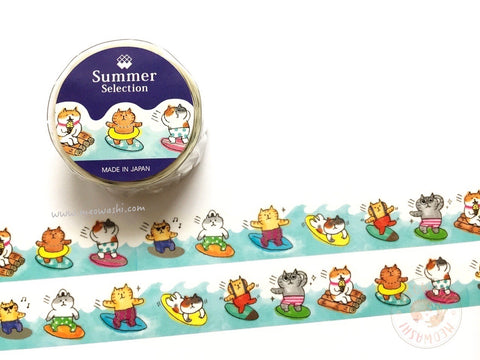 Mind Wave summer selection - GOROGORO NYANSUKE silver foil washi tape 93926