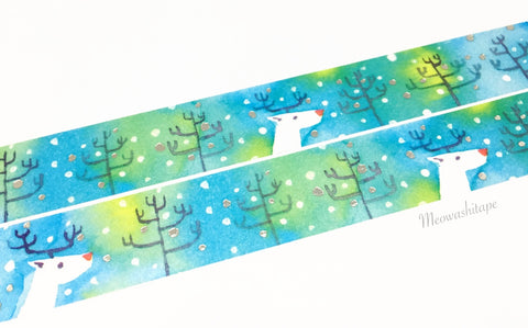 Round Top Space Craft X'mas 2017 - Deer silver foil washi tape