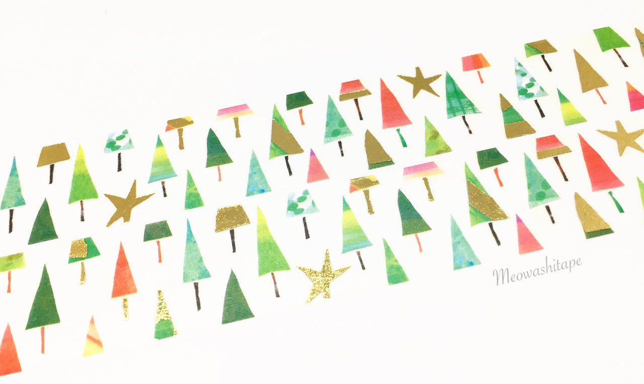 Round Top Space Craft X'mas 2017 - Trees and stars gold foil washi tape