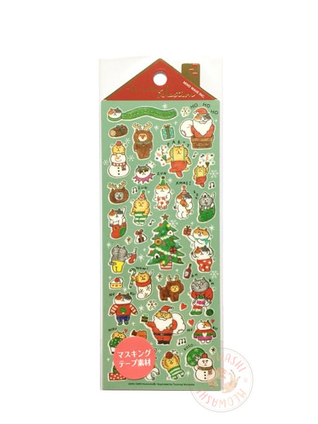 Mind Wave winter collection - Gorogoro Nyansuke gold foil washi sticker 79687
