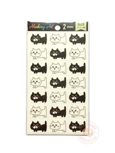 Pine Book masking art sticker - Black and white cats MA00050