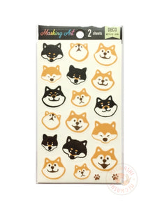 Pine Book masking art sticker - Red and black shiba dog MA00049