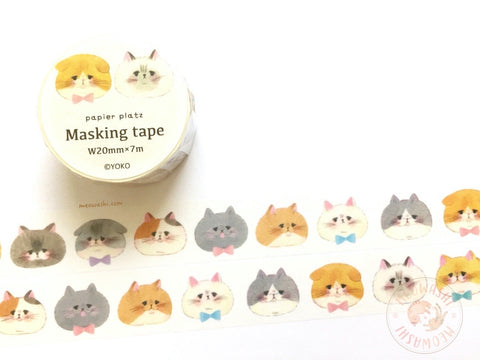Papier Platz YOKO - Cat face washi tape 37-815
