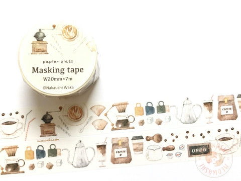 Papier Platz Nakauchi Waka - Coffee washi tape 37-817