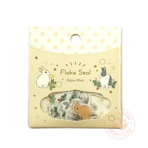 Papier Platz Schinako Moriyama washi sticker flakes - Rabbit and flower 37-827