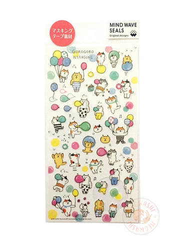 Mind Wave - Gorogoro Nyansuke and bubble washi sticker 78775