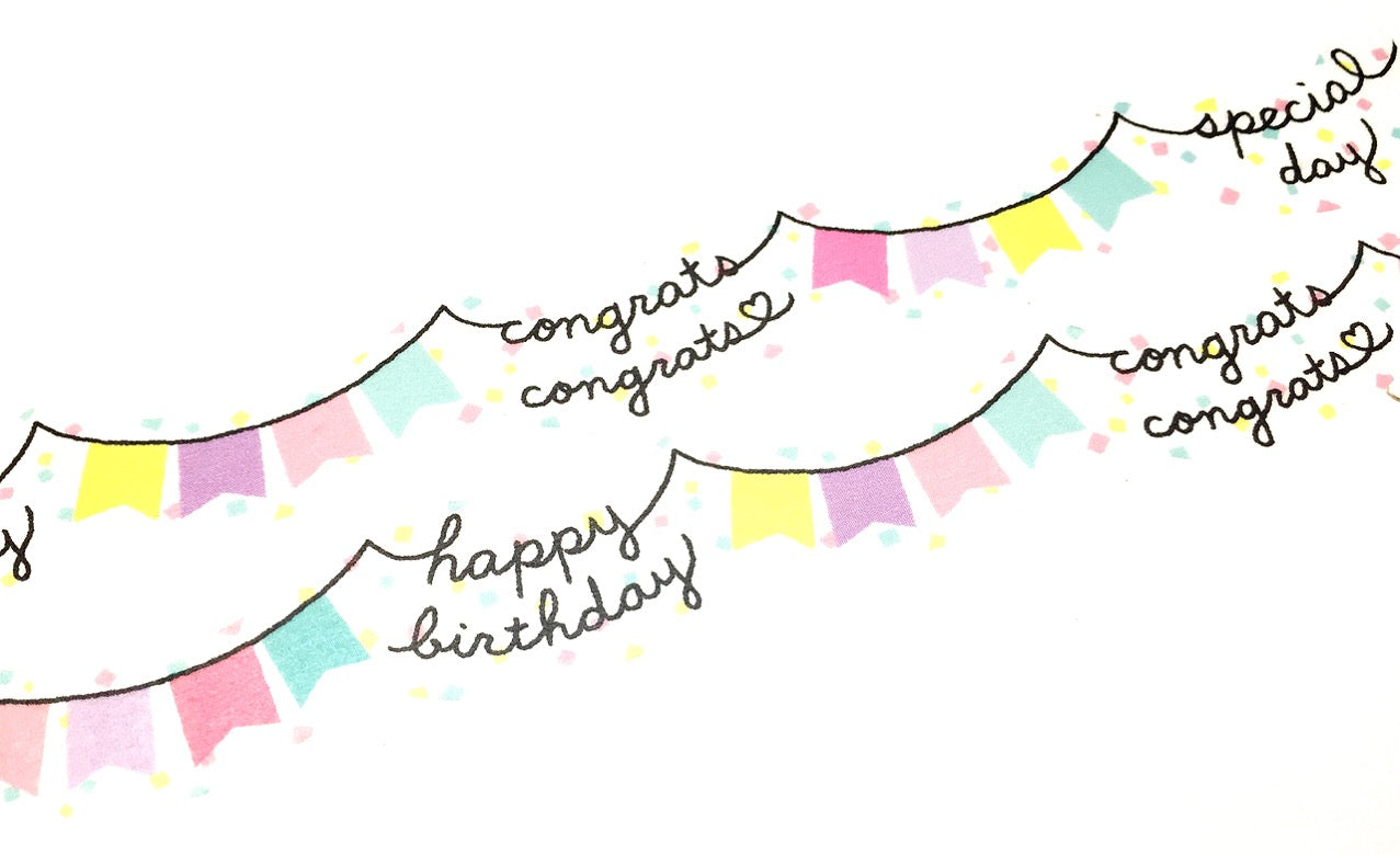 Mind Wave - Happy garland die cut washi tape