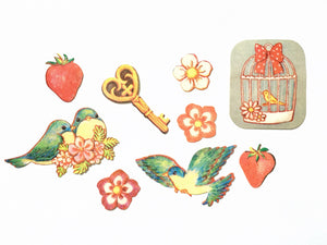 Bird couple and strawberry sticker flakes
