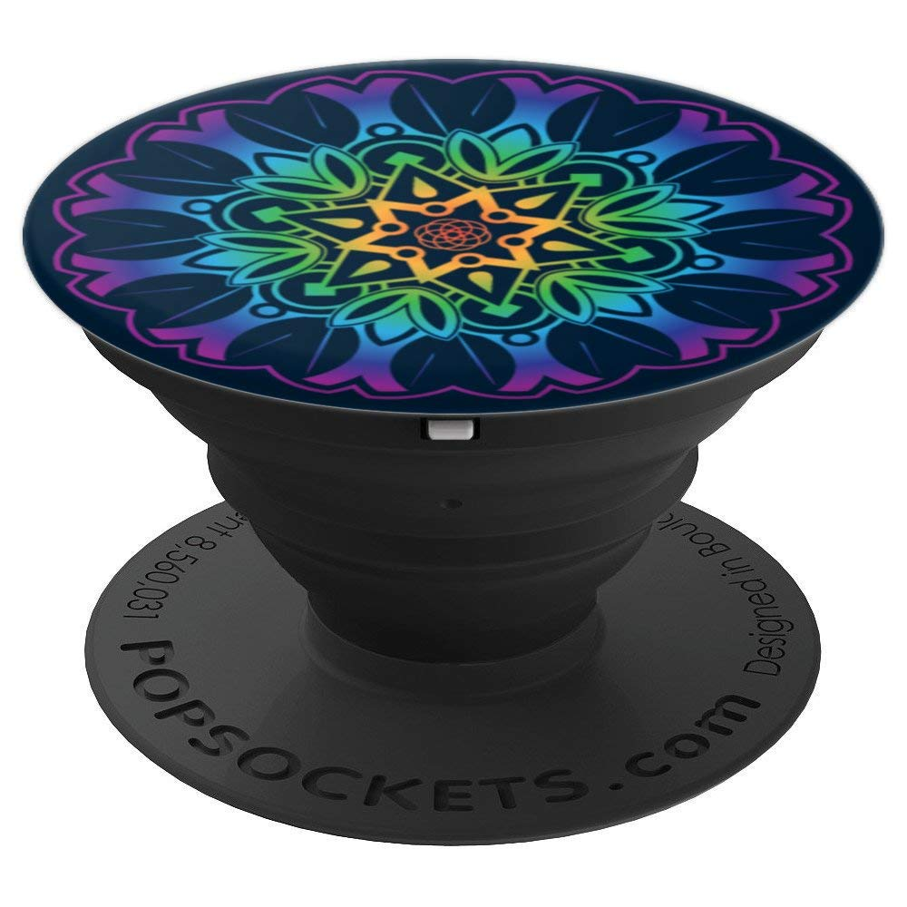 Peace Manadala Purple, Black - PopSockets Grip and Stand for Phones and Tablets