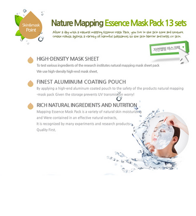 (5 Pieces) Ja Yeon Mapping Aloe Natural Essence Mask