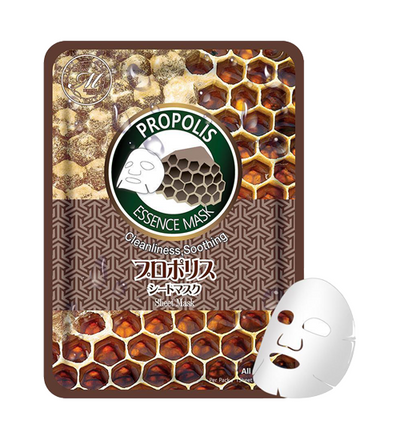 (10 Pieces) MITOMO Natural Propolis Cleaning Soothing Facial Essence Mask