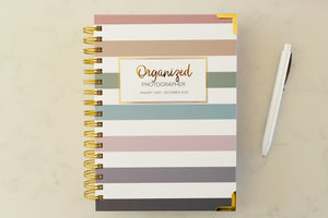 Striped covered planner for Photographers