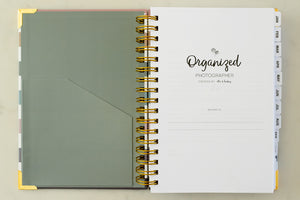Features the inside pocket of the Organized Photographer planner, perfect for storing paper receipts