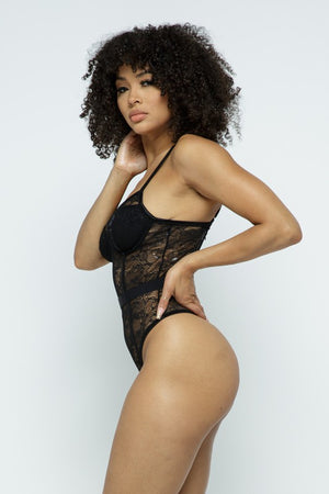 Just Lace Bodysuit Black