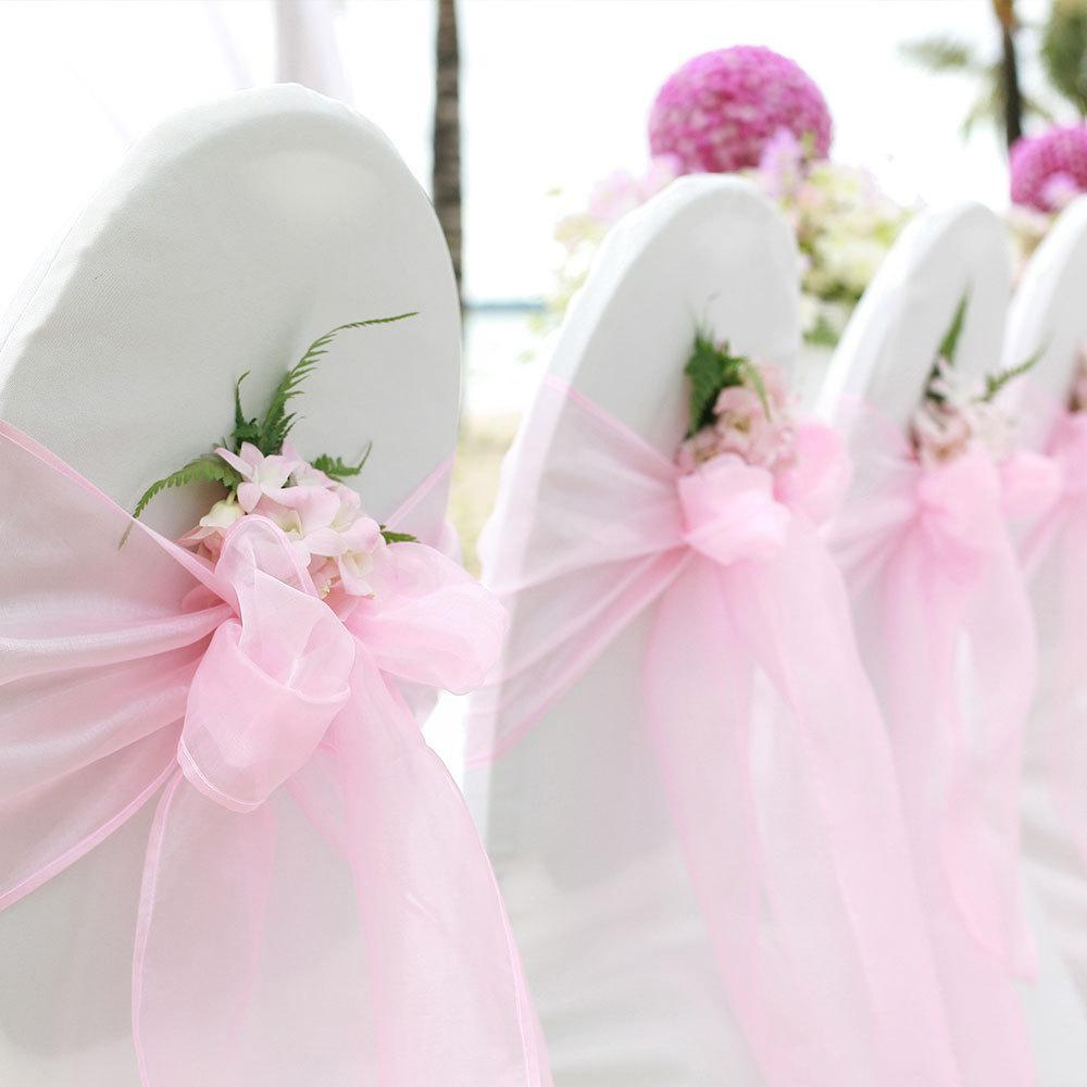 Pink Organza Chair Sashes on White Chair Covers