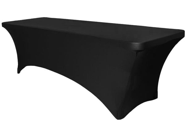 Black Lycra Fitted Tablecloth (6ft) - High Arch Side View