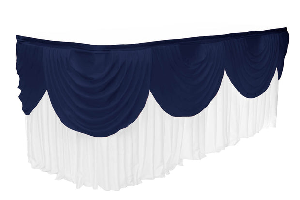 Ice Silk Satin 3m Swag  - Navy Fitted To Ice Silk Satin Skirt