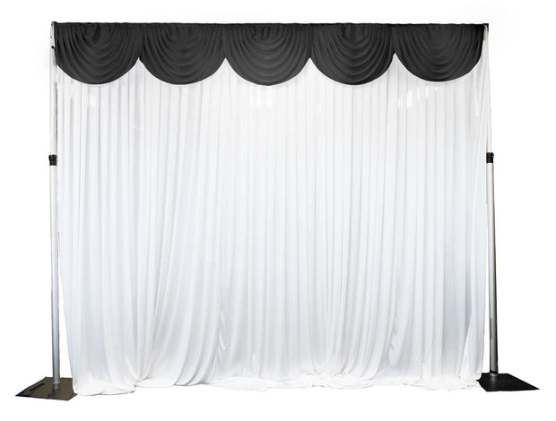 Ice Silk Satin 3m Swag  - Black Fitted To Ice Silk Satin Backdrop