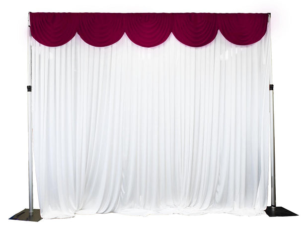 Ice Silk Satin 3m Swag  - Burgundy Fitted To Ice Silk Satin Backdrop