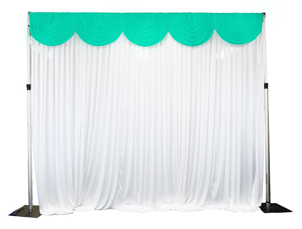 Ice Silk Satin 3m Swag  - Mint Fitted To Ice Silk Satin Backdrop