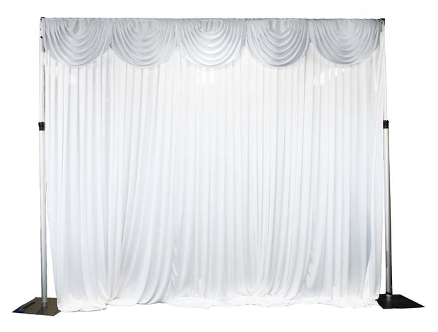 Ice Silk Satin 3m Swag  - Silver Fitted To Ice Silk Satin Backdrop