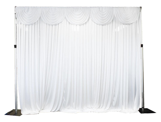 Ice Silk Satin 3m Swag  - White Fitted To Ice Silk Satin Backdrop