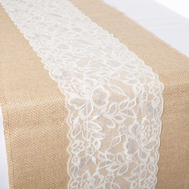 Hessian and Lace Table Runner (centre lace) 30cm x 275cm