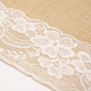 Hessian and Lace Table Runners (lace edging) 30cm x 275cm