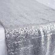 Sequin Table Runner - Silver Close Up