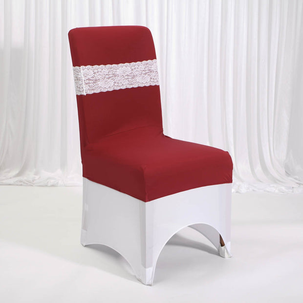 Lycra Chair Covers (Toppers) - Burgundy Wine Red With Band (Not Included)