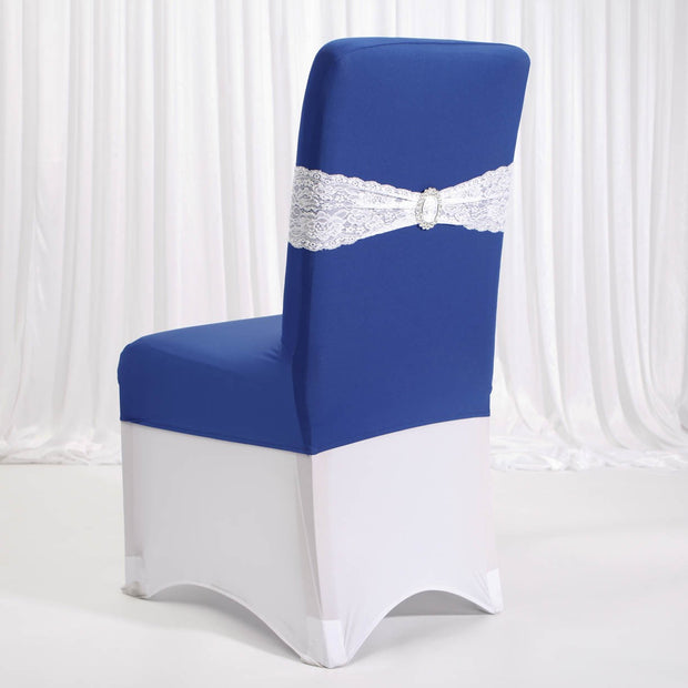 Lycra Chair Covers (Toppers) - Royal Blue Back With Lycra Chair Cover and Band White (Not Included)