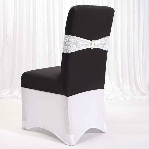 Lycra Chair Covers (Toppers) - Black Back With Band (Not Included)