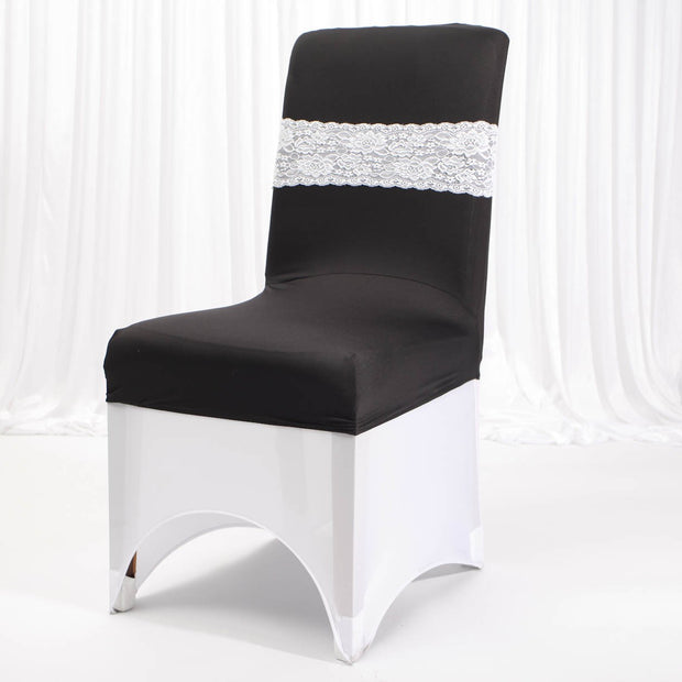Lycra Chair Covers (Toppers) - Black With Band (Not Included)