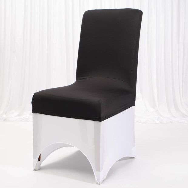 Lycra Chair Covers (Toppers) - Black With Full Lycra Chair Cover (Not Included)