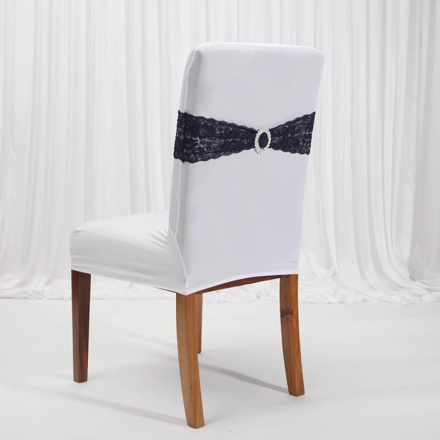 Lycra Chair Covers (Toppers) - White On Dining Chair With Band (Not Included)