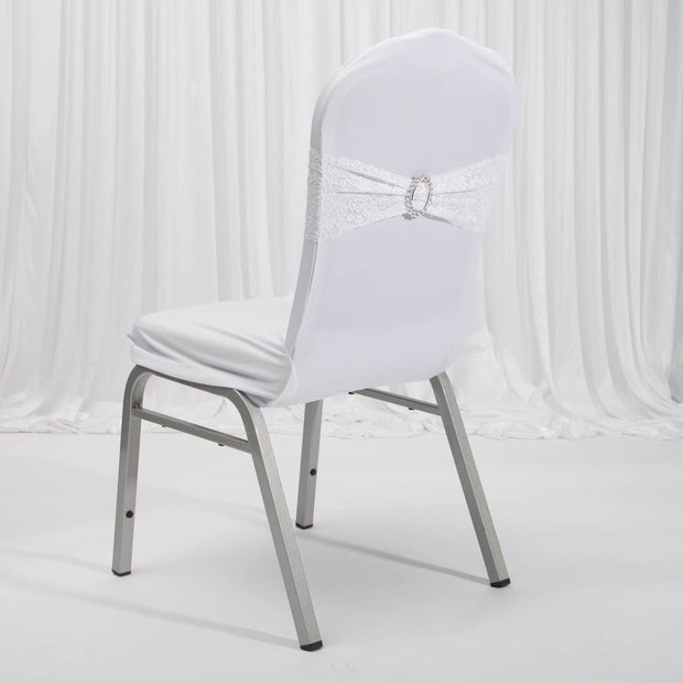 Lycra Chair Covers (Toppers) - White Back On Banquet Chair With Band (Not Included)