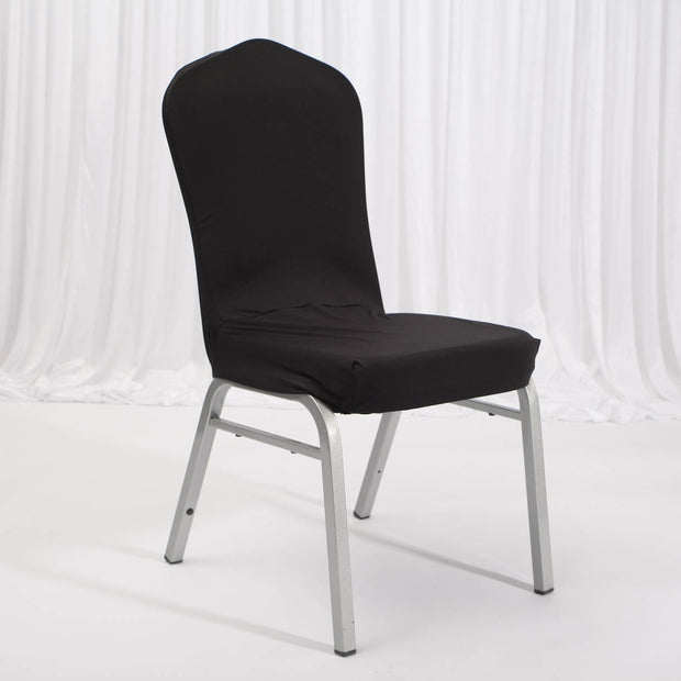 Lycra Chair Covers (Toppers) - Black On Banquet Chair