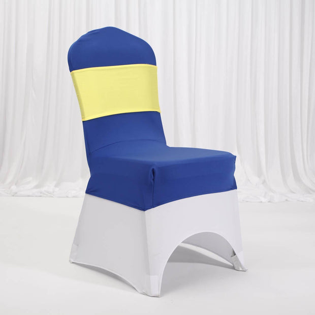 Lycra Chair Covers (Toppers) - Royal Blue With Lycra Chair Cover and Band (Not Included)