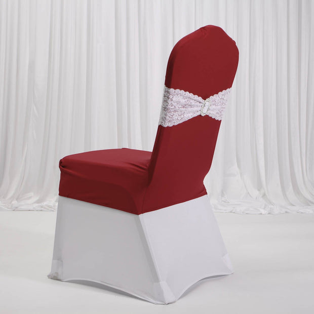 Lycra Chair Covers (Toppers) - Wine Red Back With Band (Not Included)