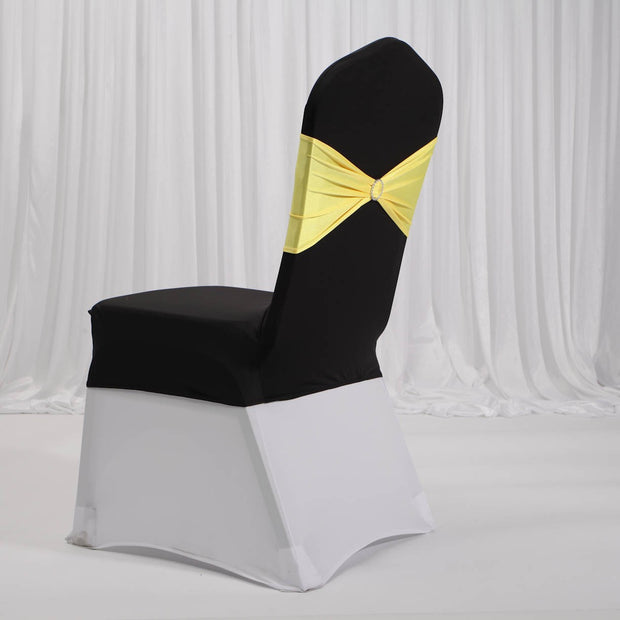 Lycra Chair Covers (Toppers) - Black Back With Band Yellow (Not Included)