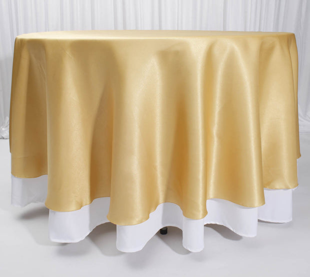 Gold Round Satin Tablecloth Overlay (230cm) On Tablecloth