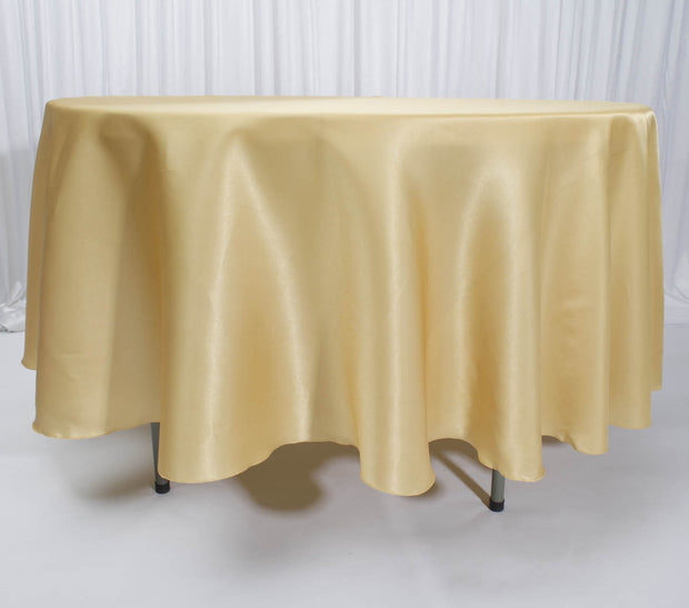 Gold Round Satin Tablecloth Overlay (230cm)