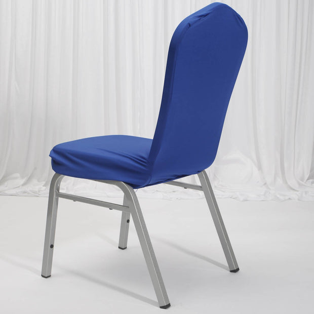 Lycra Chair Covers (Toppers) - Royal Blue Back On Dining Chair
