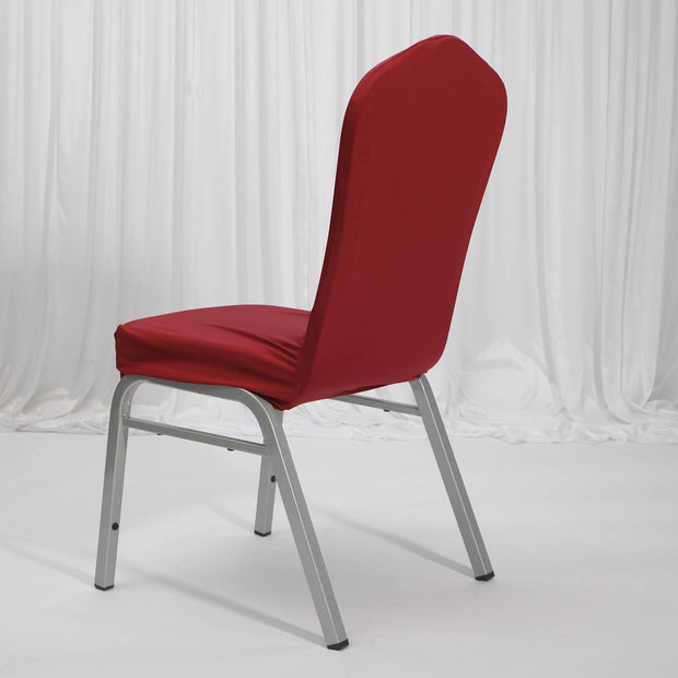 Lycra Chair Covers (Toppers) - Wine Red Back On Banquet Chair